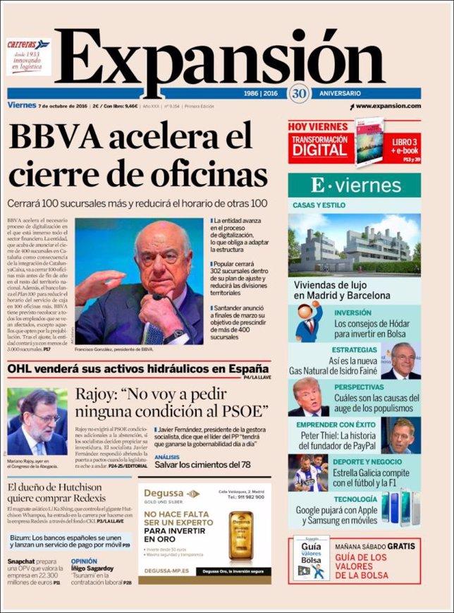 Las portadas de los peri dicos econ micos de hoy viernes for Bbva cierre oficinas