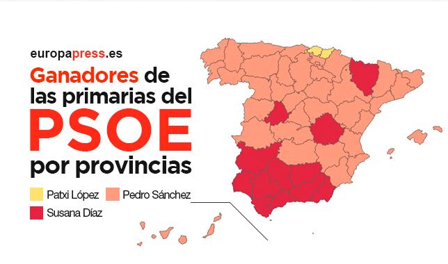 Ganadores de las primarias del PSOE, por provincias