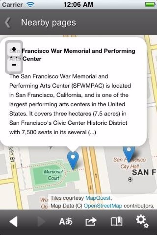 Mapa En La Aplicación De Wikipedia